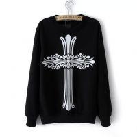 2014女装秋冬新款图腾十字架印花套头卫衣女式套头打底衫 103014