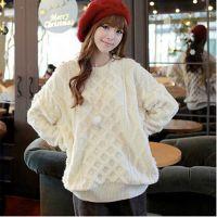 韩国套头毛衣女新品春装大码宽松学院风中长款修身针织打底衫外套