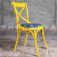 美式做旧餐椅休闲时尚咖啡店椅 做旧复古餐桌椅 铁艺设计师高档