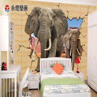 动物电视背景墙纸壁纸3d立体大型壁画无缝墙布虎犀牛狮子熊猫大象