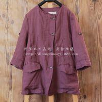 cxy14091512 2014年秋季新款棉麻文艺森林系原创风短风衣外套