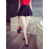 小银子2015夏装新款欧美褶皱设计超显腿长裙裤K4427