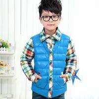 俊骁新款格子领衬衣男童羽绒服韩版修身个性拼接儿童外套一件代发