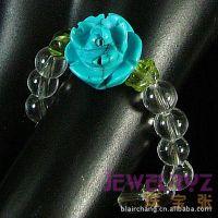 韩国宝石指环戒指 绿松石玫瑰花 白水晶戒子 饰品批发YFR03