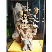 红豆杉木雕件 喜雀玫瑰花摆件 构图疏朗大气精品红豆杉花鸟雕件