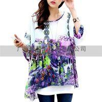 2014外贸新款 海南风光波西米亚系列 蝙蝠雪纺衫宽松T恤 宫廷图腾