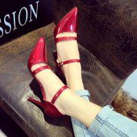 2015春夏季女单鞋欧美细跟浅口尖头高跟鞋漆皮大红色婚鞋包头凉鞋