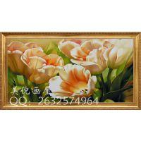 纯手绘欧式现代花卉郁金香油画卧室餐厅装饰画电表箱遮画