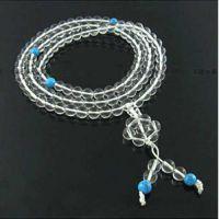 晶壹天然水晶批发天然白水晶绿松石108颗手链 多圈多层手链