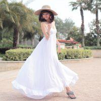 2014热卖 夏季女 爆款白色棉质吊带拖地长裙大裙摆 大码连衣裙