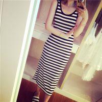小q小Q 2015夏装新款 欧美风 条纹纯色修身显瘦背心裙长裙连衣裙