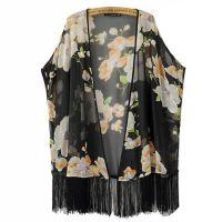 2015春季新款 欧美女装 印花流苏拼接下摆雪纺中长款披肩外套SYJZ