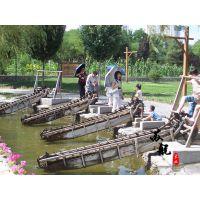 脚踏水车 防腐木碳化木脚踏水车 鱼池用水车 木制防腐木水轮车
