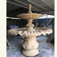 砂岩树脂工艺品水景喷泉欧式人物圆雕树叶浮雕城市广场流水盆定制