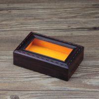 果梓红木 红酸枝首饰盒*翡翠挂件展示透明玻璃收藏盒*红木玉器盒