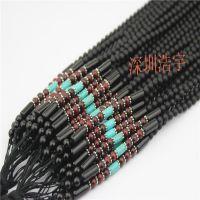 深圳浩宇 厂家直销 男女通用 高档编织 自然黑色玛瑙绿松石项链绳