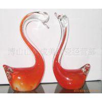 供应玻璃工艺品琉璃工艺品仿玉天鹅