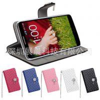 LG G2钱包手机皮套 手机壳 满天星贴钻左右翻盖插卡片支架保护壳