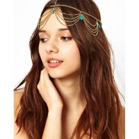 欧美新款 明星同款 波西米亚 绿松石 流苏发带发箍头饰 女 TT006