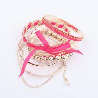 【正品出售】韩版韩式/韩国风甜美合金珍珠编织多层手镯