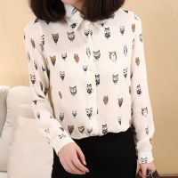 韩版卡通雪纺衬衫 女 长袖雪纺衫