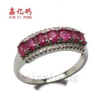 鑫鹏珠宝 925纯银镀白金天然红宝石戒指女戒 指环 正品批发 特价