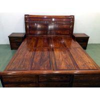 名琢世家刺猬紫檀高箱大床古典中式花梨木大床