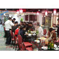 深惠美美式乡村家具 火锅桌 实木餐桌 玻璃面火锅桌