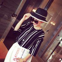 小银子2015春装新款时髦街拍显瘦竖条纹冰丝针织七分袖上衣M4158
