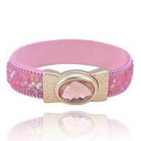 首饰批发高档皮手链  合金镶钻手镯手环 粉色大水晶钻石 低价