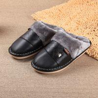 2014冬季男士时尚保暖棉拖鞋 新款高档PU防水防滑加厚居家棉拖鞋