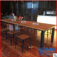 美式工业风餐桌 美观大方原实木长方形酒店/酒吧桌子