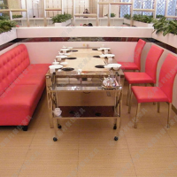 专业设计 钢艺框架玻璃火锅餐桌 烧烤店实用时尚餐桌子 火锅餐桌椅组合