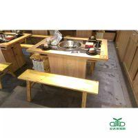 运达来深圳厂家 现代专业定制火锅餐厅餐桌椅古典中式火锅桌