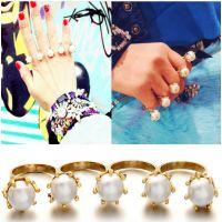 热播韩剧 全智贤 来自星星的你 女王范五颗珍珠连指戒指