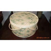 安吉竹篮批发  印花圆形竹篮  竹盒  礼品包装
