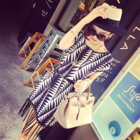 小银子2015夏装新款洋气街拍几何撞色流苏连衣裙Q6232