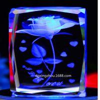 供应水晶激光内雕加工 激光内刻水晶 玫瑰花工艺品