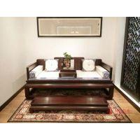 老挝大红酸枝家具【凤凰来仪罗汉床】-广东永华红木家具