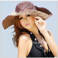 夏天遮阳帽手工草帽 大花朵大沿帽沙滩帽 宽边大檐草编帽 9色