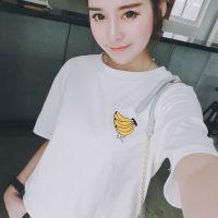 夏天家 2015春季新款女装韩版潮百搭宽松休闲刺绣香蕉圆领T恤XX
