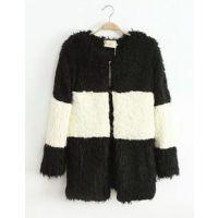 13-11-7 日单黑白条纹拼色毛绒外套中长款保暖羊羔毛大衣毛毛外套