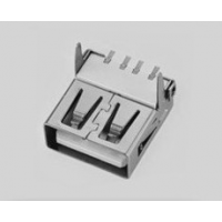大量供应USB连接器 USBAF SMT 平口 直脚【白色一字型胶芯】 无卷边母座1;1/alt