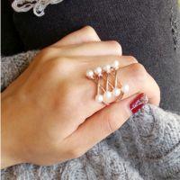 韩国饰品 来自星星的你全智贤同款玫瑰金珍珠交叉戒指 精致版