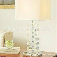 宜家奢华客厅卧室床头酒店水晶台灯 方形灯罩 现代书房灯具