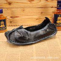 2015新款复古真皮鞋女 软底平底休闲孕妇鞋休闲单鞋 纯手工鞋批发
