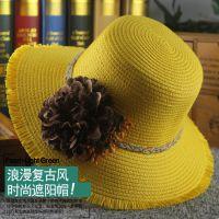 2015韩版夏季新款出口拉菲草帽渔夫帽女夏户外出游防晒遮阳帽批发