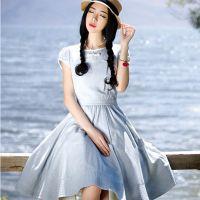 淘女装工厂生产贴牌生产来版订做2015夏季新款复古棉麻连衣裙