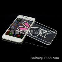 iPhone5s手机套批发 苹果手机壳批发 款粘钻透明长兔耳朵外壳