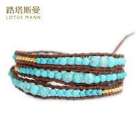一件代发批发路塔斯曼刻面绿松石与金珠三圈棕本色皮绳手链